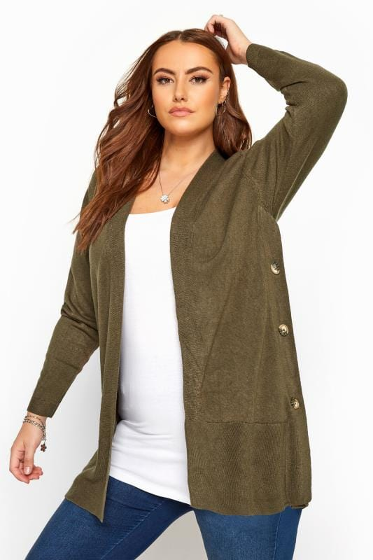 Plus Size Cardigans Khaki Green Cashmilon Button Side Cardigan