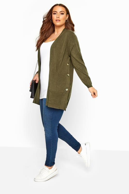 Khaki Green Cashmilon Button Side Cardigan