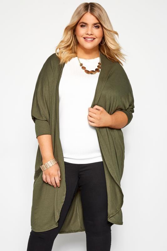 Plus Size Cardigans Khaki Green Cocoon Cardigan