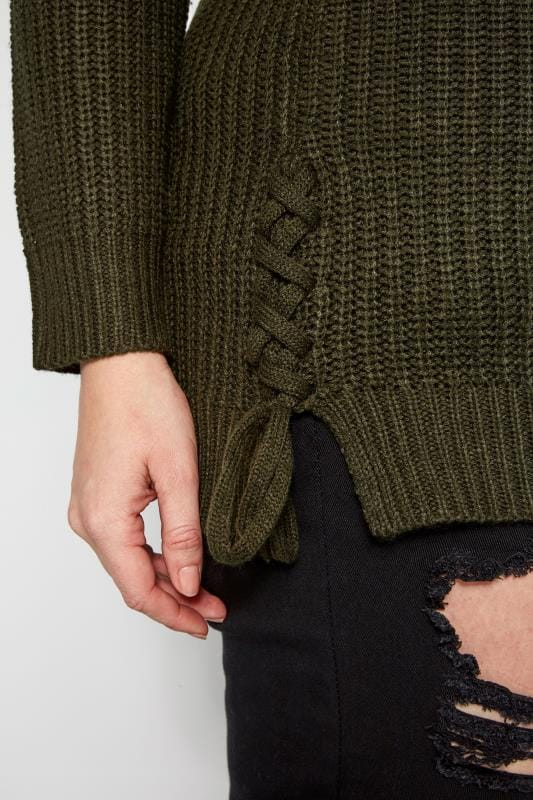 Khaki Green Cold Shoulder Jumper