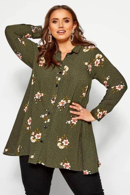 Plus-Größen Shirts Khaki Green Floral Spotted Shirt