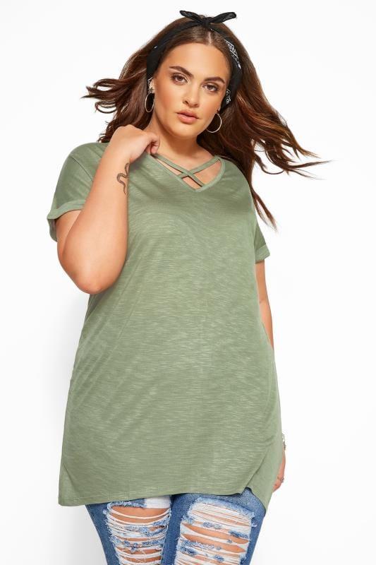 Plus Size T-Shirts Khaki Green Lattice Front Top