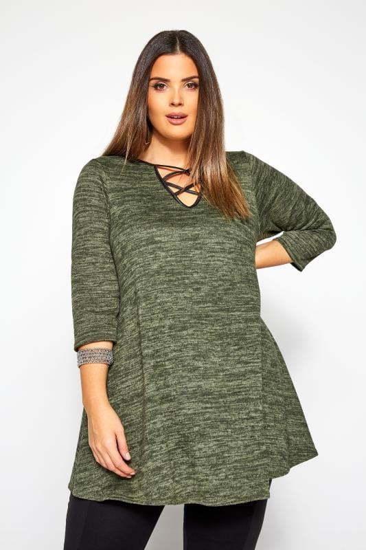 Plus Size Knitted Tops Khaki Green Marl Lattice Notch Swing Top
