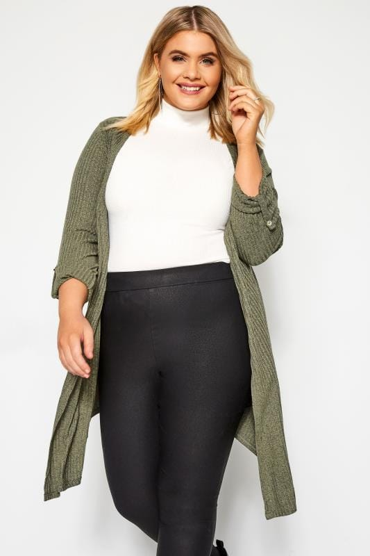 Plus Size Knitted Cardigans Khaki Green Ribbed Cardigan