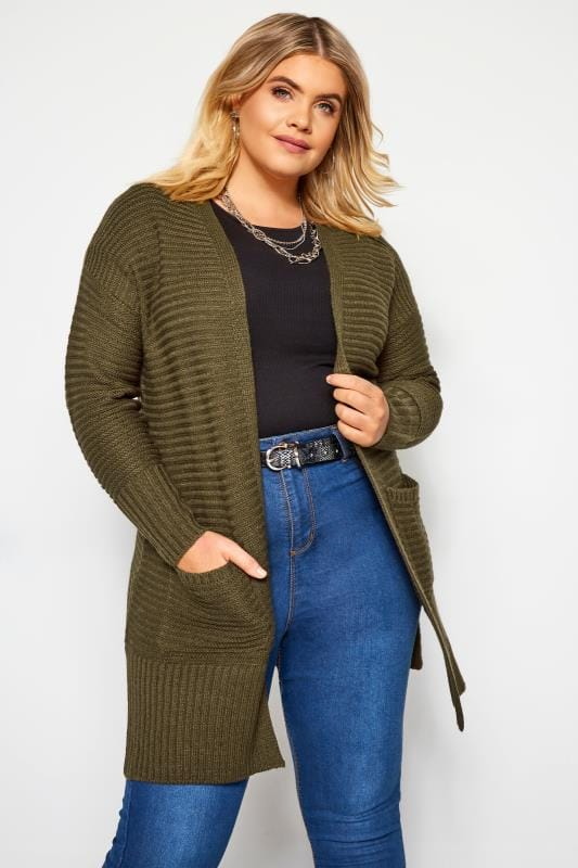 Plus Size Cardigans Khaki Green Ribbed Cardigan