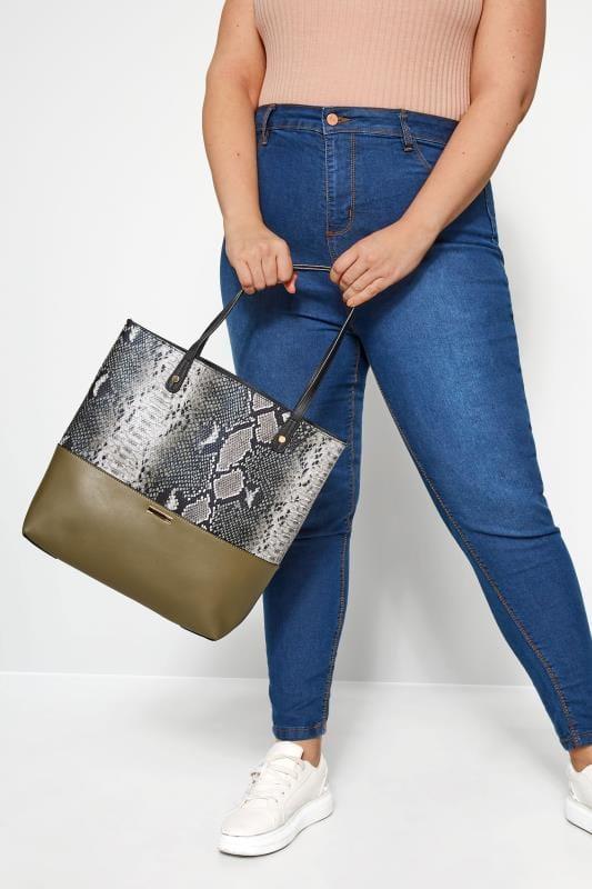 Bags & Purses Khaki Green Snake Print Tote Bag