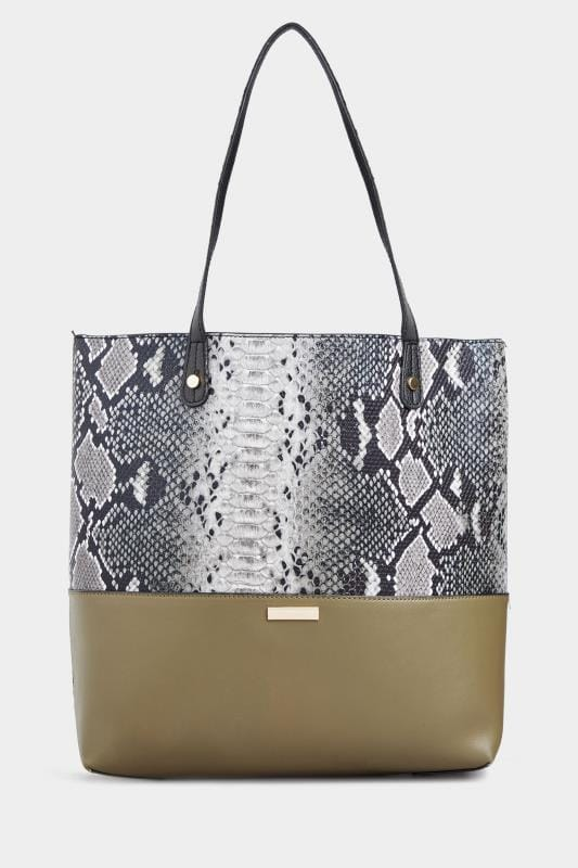 Khaki Green Snake Print Tote Bag