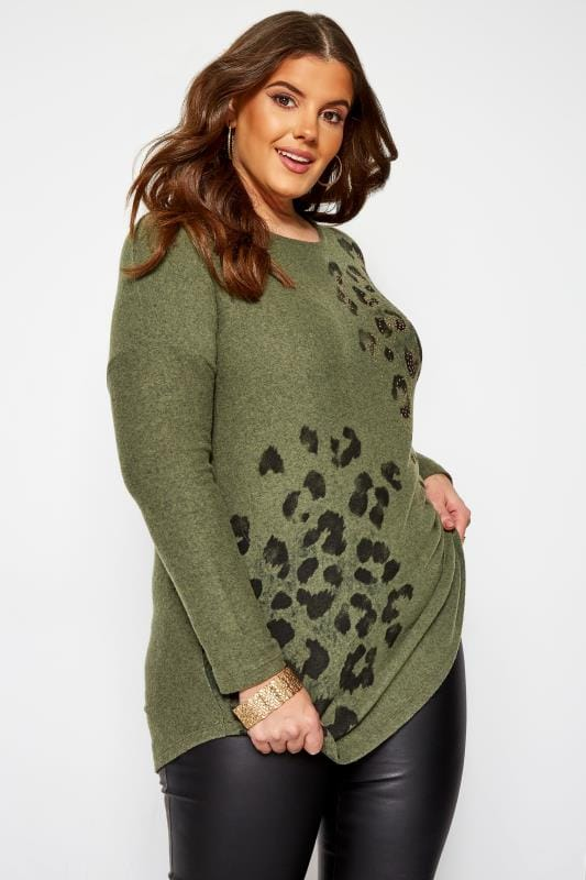 Plus Size Knitted Tops & Sweaters Khaki Green Stud Animal Print Knitted Top