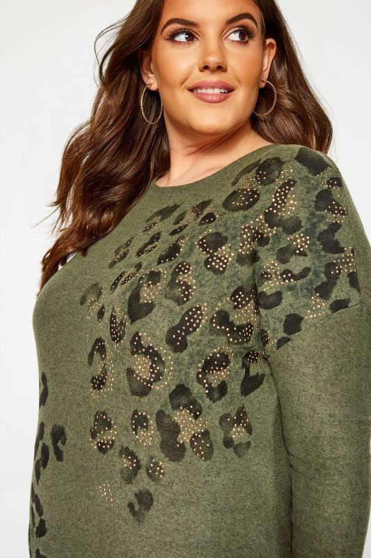 Khaki Green Stud Animal Print Knitted Top