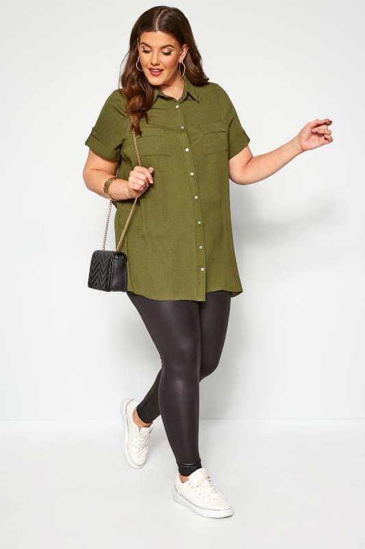 Plus Size Shirts Khaki Green Utility Shirt