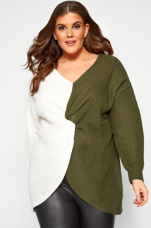 Plus Size Jumpers Khaki Green & White Twist Front Jumper
