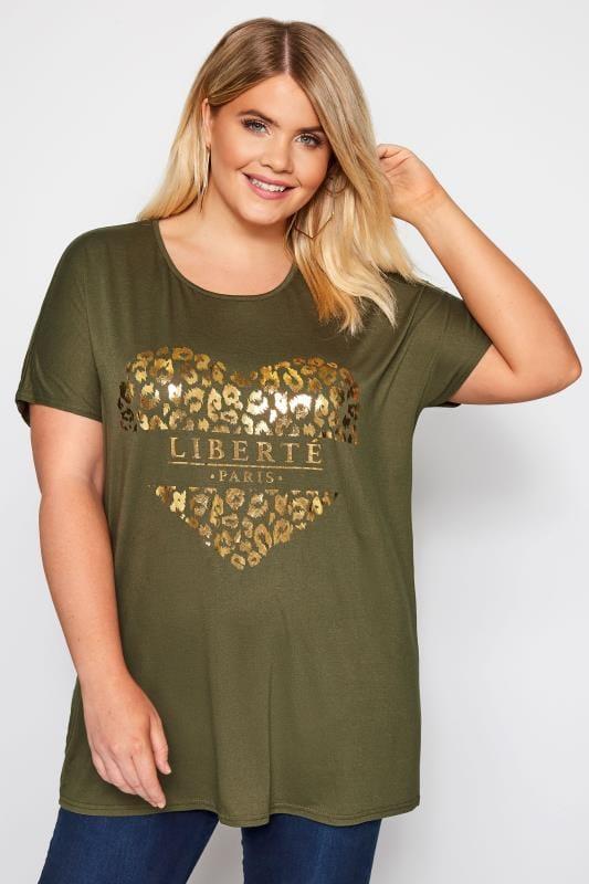 Plus Size T-Shirts Khaki Heart Print Foil T-Shirt