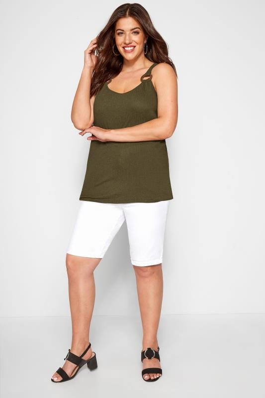 Khaki Horn Ring Crinkle Vest Top