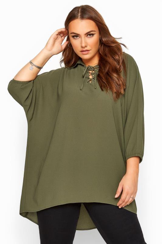 Plus Size Shirts Khaki Lace Up Extreme Dipped Hem Shirt