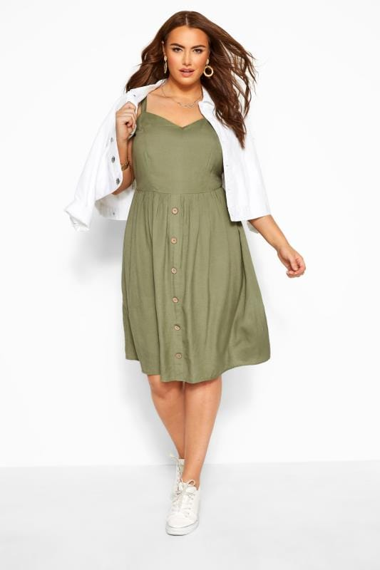 Skater Dresses Tallas Grandes Khaki Linen Feel Sundress