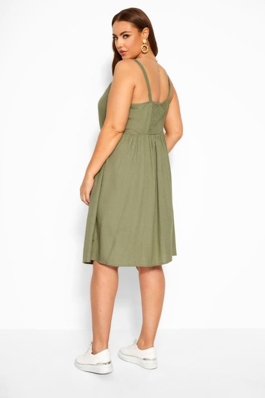 Khaki Linen Feel Sundress