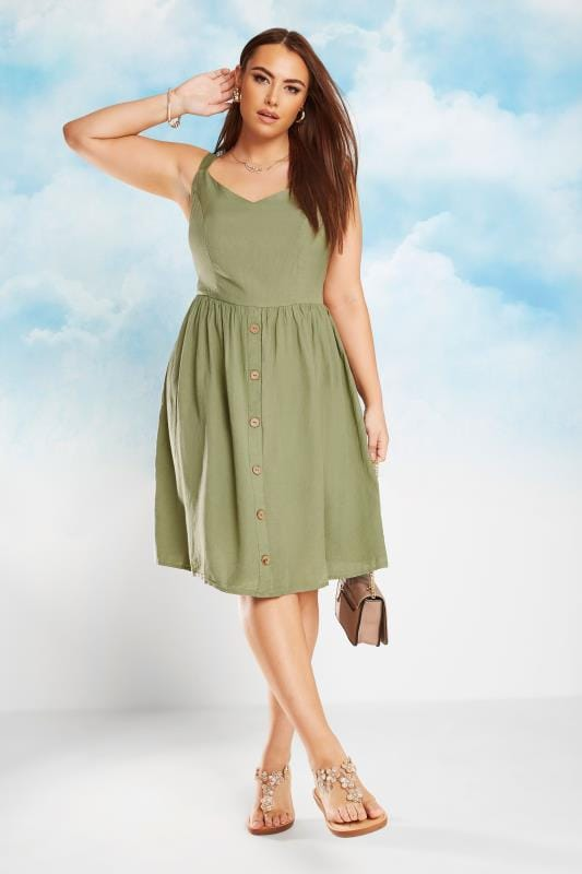 Plus Size Skater Dresses Khaki Linen Feel Sundress