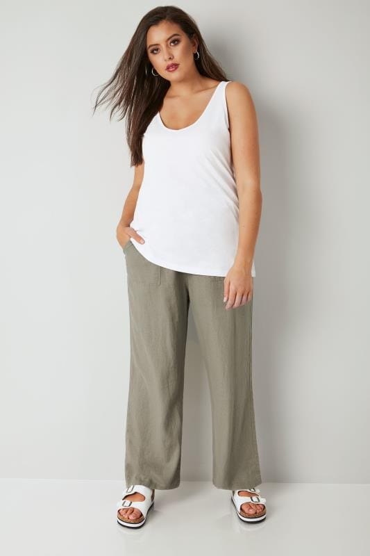 Khaki Linen Mix Pull On Wide Leg Trousers