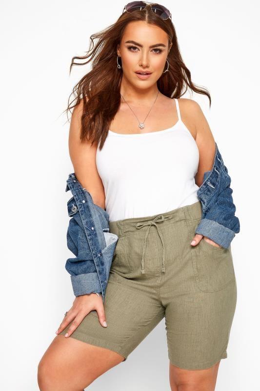 Plus Size Linen Mix Shorts Khaki Linen Mix Shorts