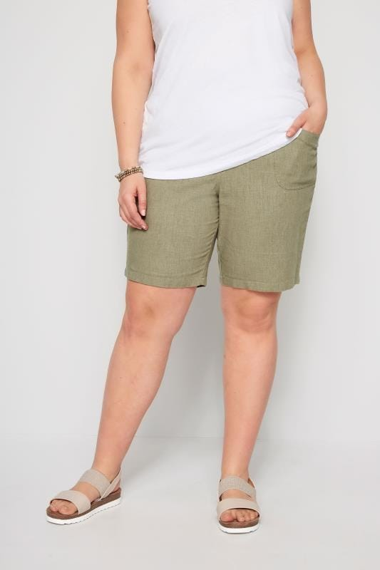 Plus Size Linen Mix Shorts Khaki Linen Mix Shorts