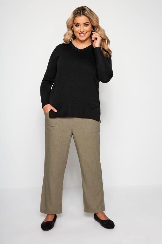 Leinenmix-Hose mit weitem Bein - Khaki