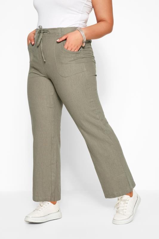 Khaki Linen Mix Wide Leg Trousers