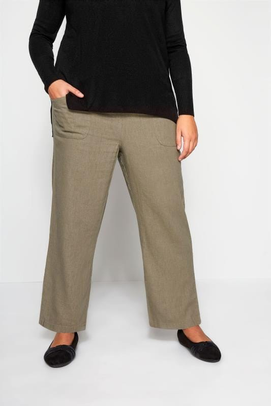 Plus Size Linen Mix Trousers Khaki Linen Mix Wide Leg Trousers