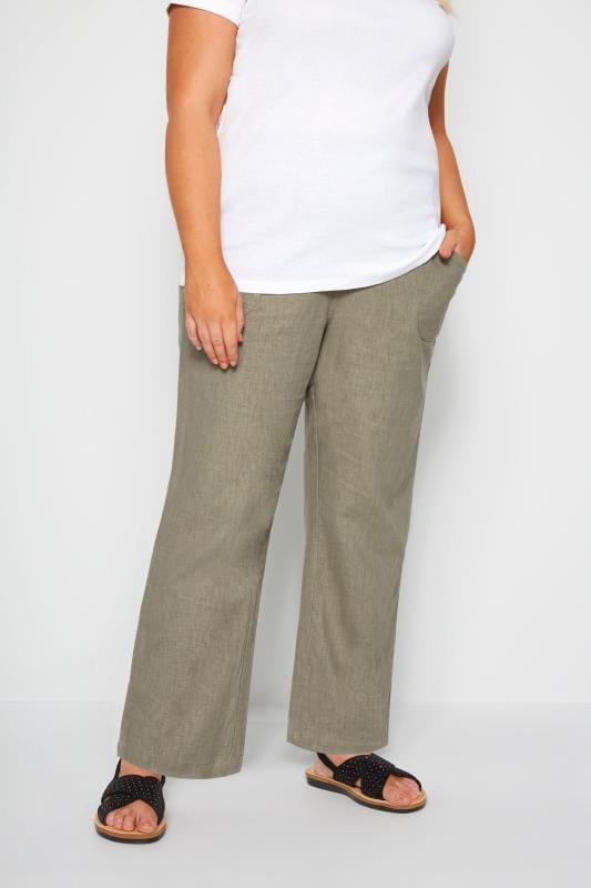 Plus Size Linen Mix Trousers Khaki Linen Mix Wide Leg Trousers