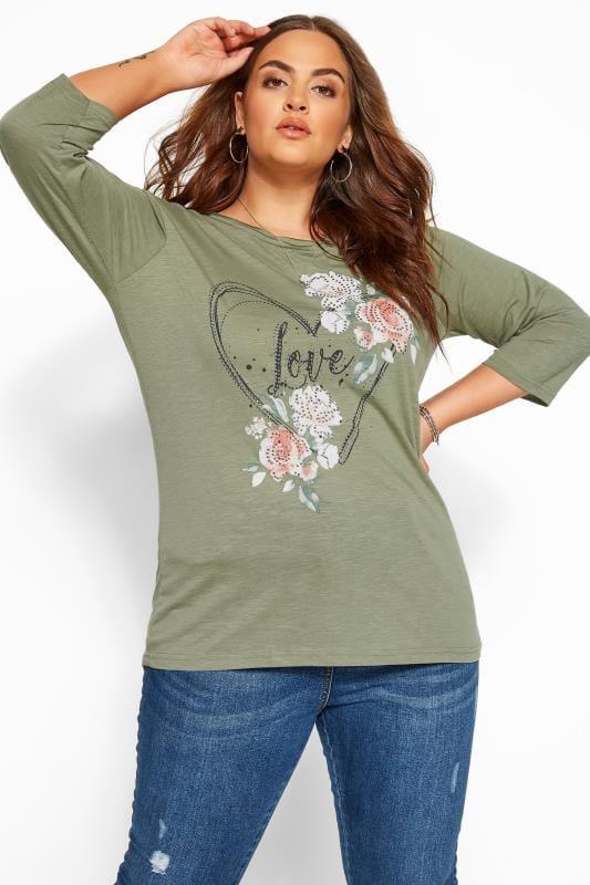 Plus Size Jersey Tops Khaki Marl Heart 'Love' Slogan Top