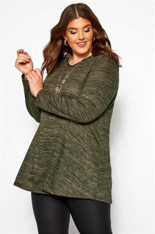 Plus Size Longline Tops Khaki Marl Long Sleeved Swing Top