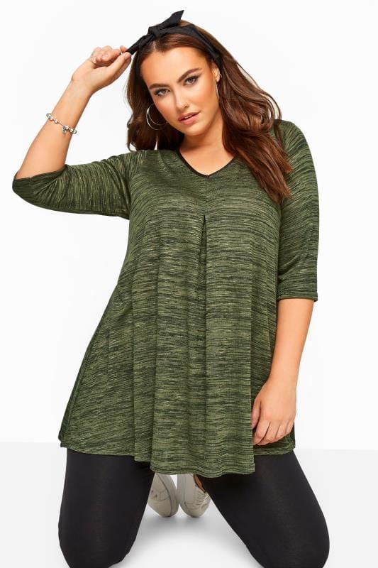 Plus Size Jersey Tops Khaki Marl Longline Swing Top