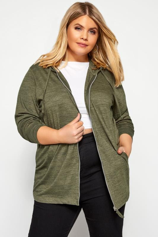 Plus Size Sweatshirts & Hoodies Khaki Marl Zip Through Hoodie