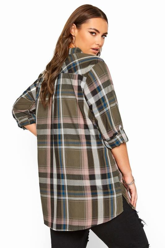 Khaki Metallic Check Boyfriend Shirt