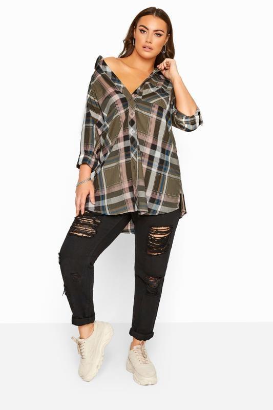 Khaki Metallic Check Boyfriend Shirt