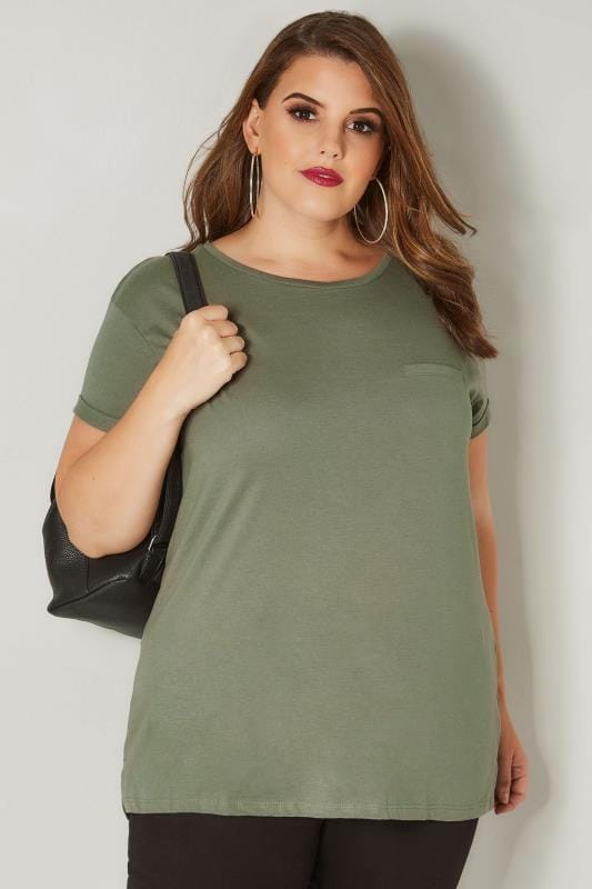 Plus Size T-Shirts Khaki Mock Pocket T-Shirt
