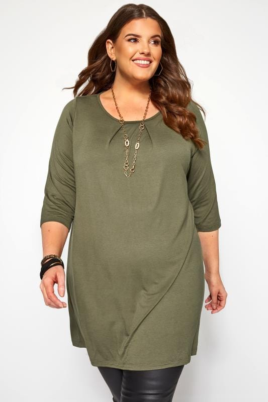 Plus Size Jersey Tops Khaki Pleat Neck Top
