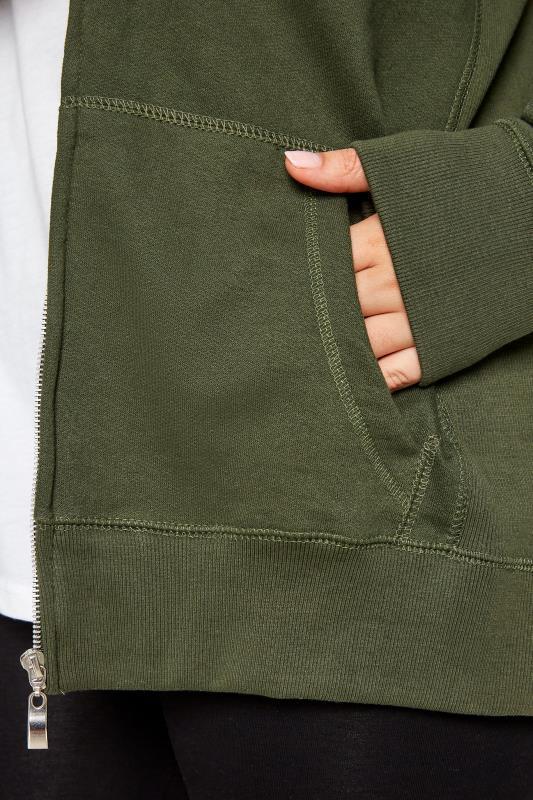 Khaki Ribbed Trim Zip Through Hoodie