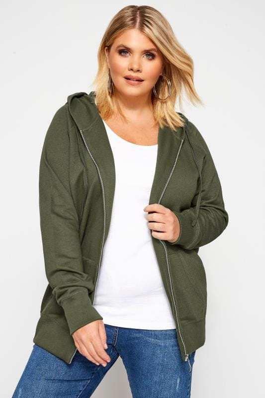Plus Size Hoodies & Jackets Khaki Ribbed Trim Zip Through Hoodie