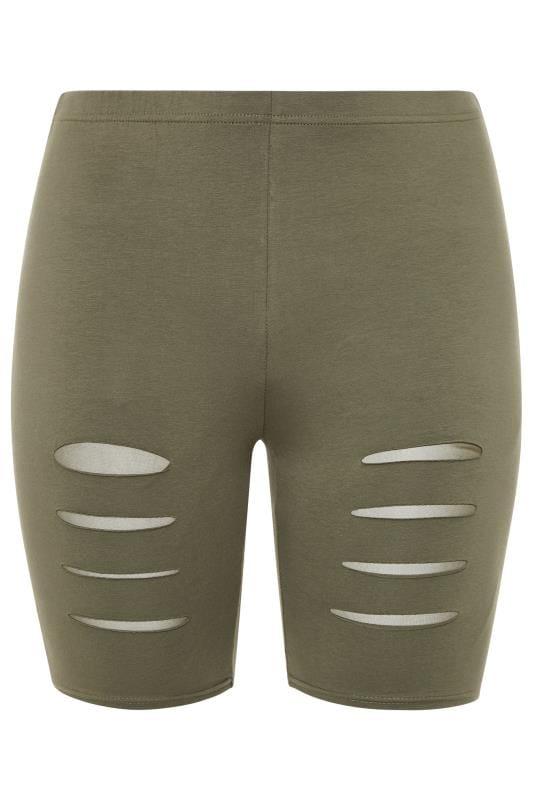 Khaki Ripped Mesh Insert Cycling Shorts