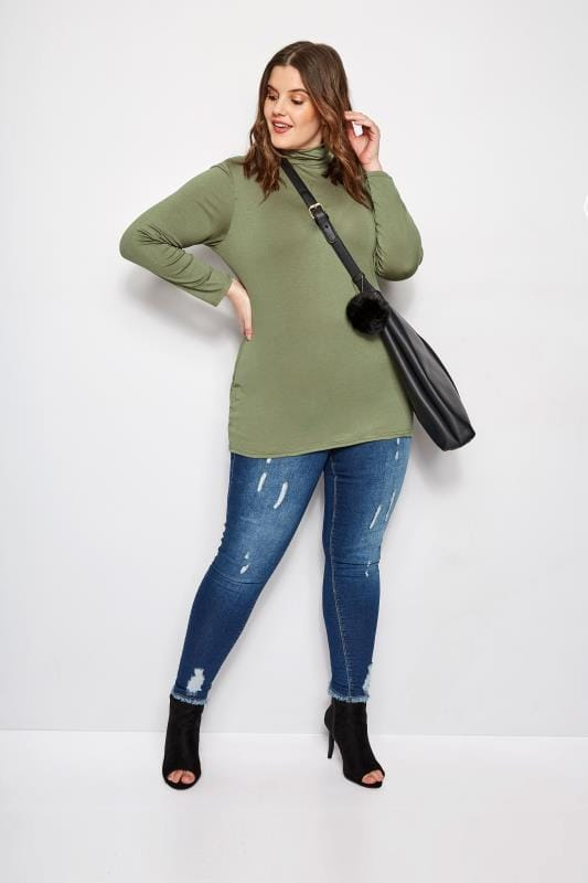 Khaki Turtleneck Top