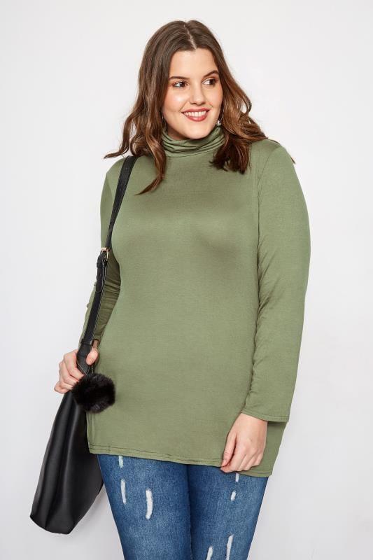 Plus Size Basic T-Shirts & Vests Khaki Turtleneck Top