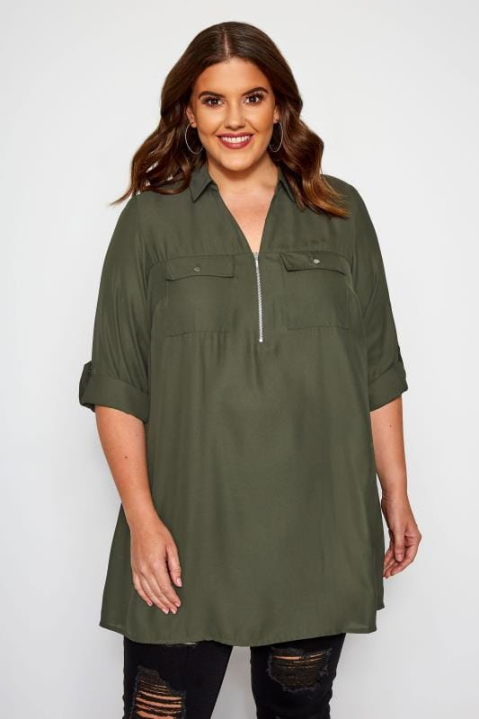 Plus Size Shirts Khaki Shirt With Zip Front