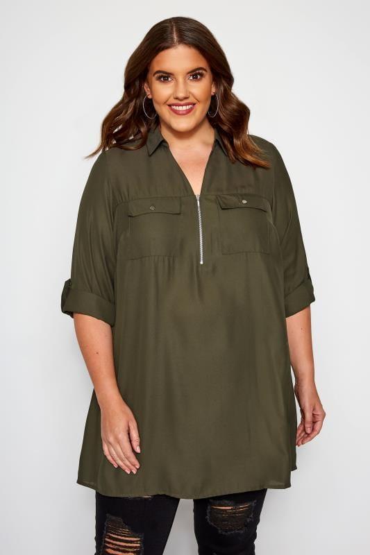 Plus Size Shirts Khaki Shirt With Zip Front