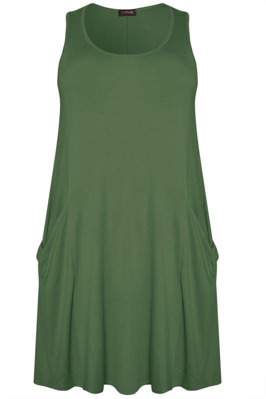 Khaki Sleeveless Drape Pocket Dress