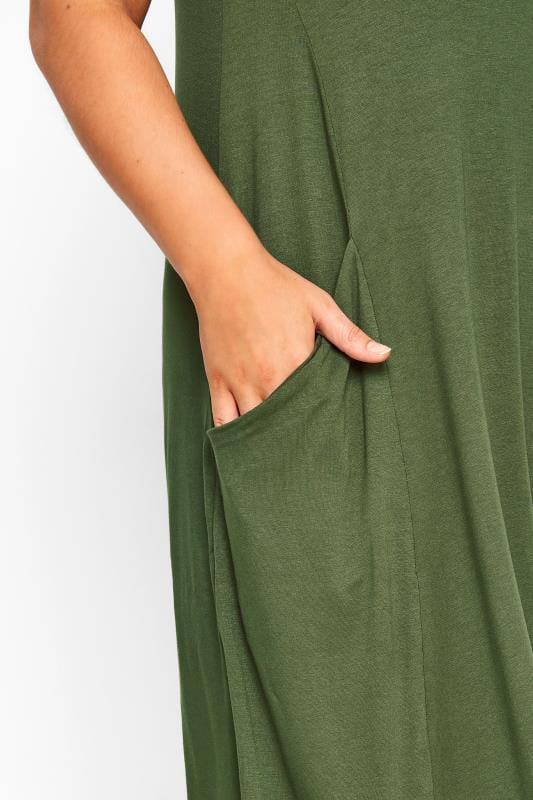 Khaki Sleeveless Drape Pocket Dress