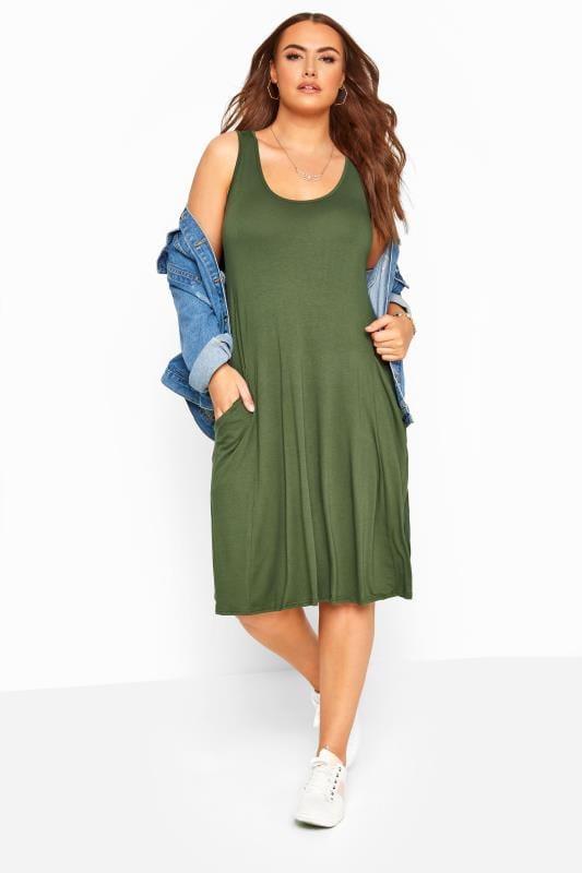 Plus Size Bracelets Khaki Sleeveless Drape Pocket Dress