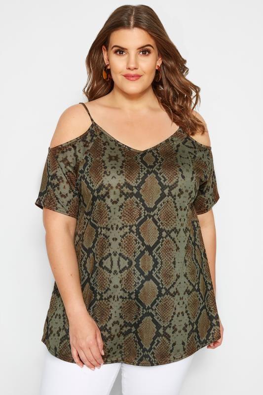 Plus Size Bardot & Cold Shoulder Tops Khaki Snake Print Cold Shoulder Top