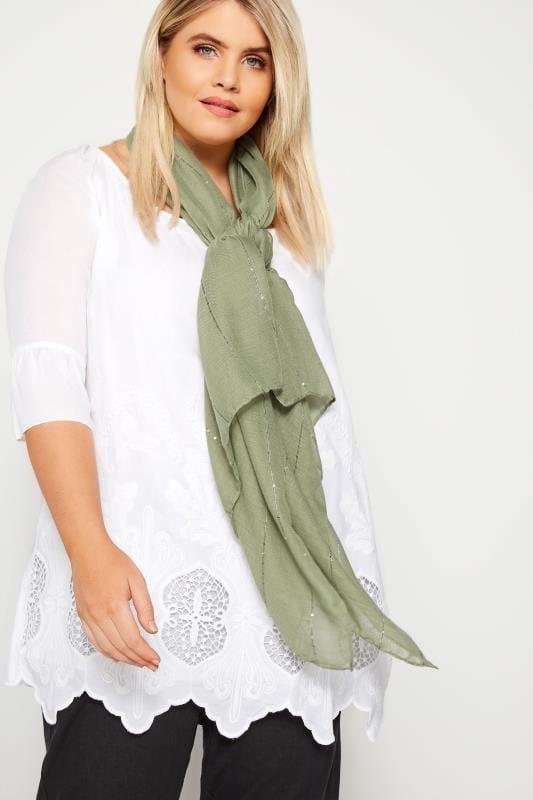 Bufandas y pañuelos Tallas Grandes Pañuelo caqui lentejuelas