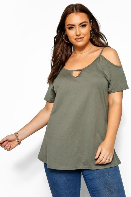 Plus Size Jersey Tops Khaki Strappy Cold Shoulder Top