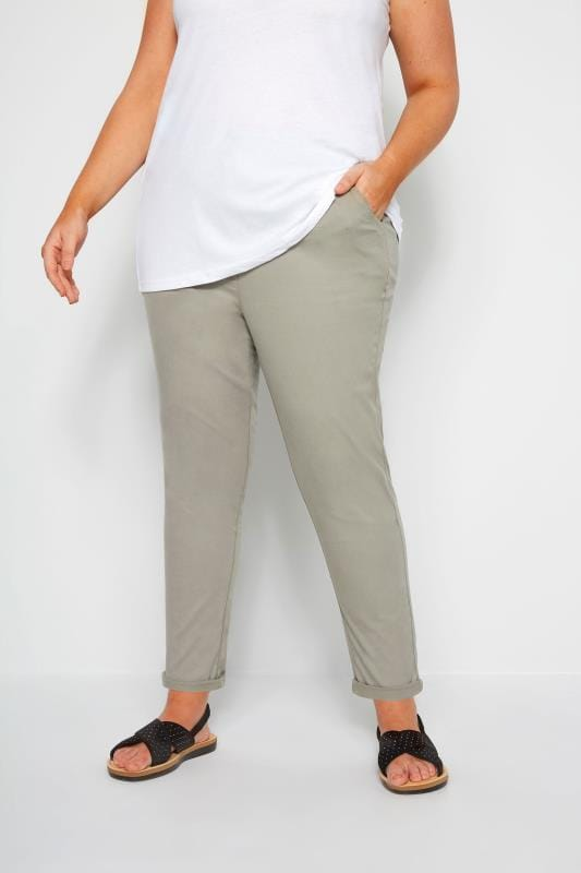 Plus Size Tapered & Slim Fit Trousers Khaki Stretch Chino Trousers